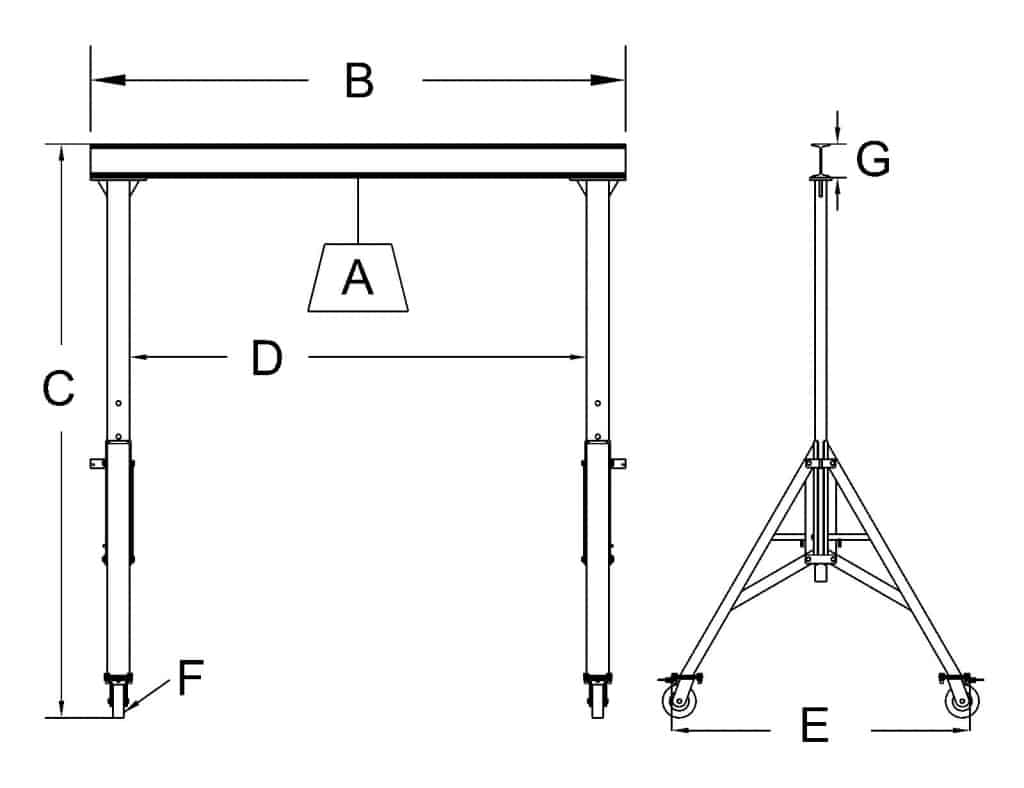 Thrifty Steel Adjustable Height 1 to 7.5 Ton Gantry Cranes | Dimensional Sketch | Wallace Cranes