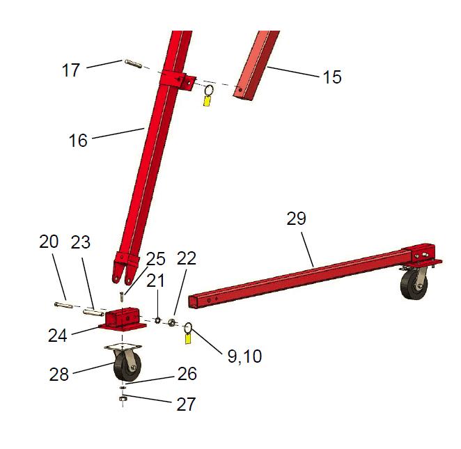 hippolift 1-3 caster frame