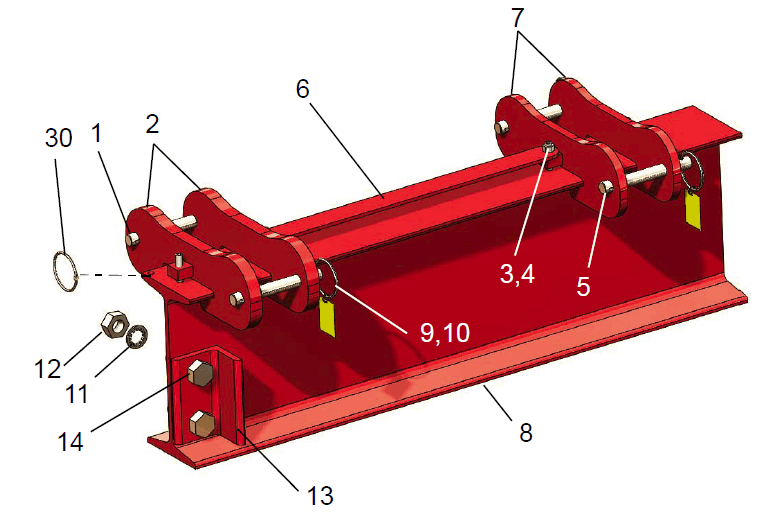 Hippolift Steel 1-Ton Fixed-Height Portable Gantry Crane (FHS211-S25AC) | Parts Location Diagram | Wallace Cranes