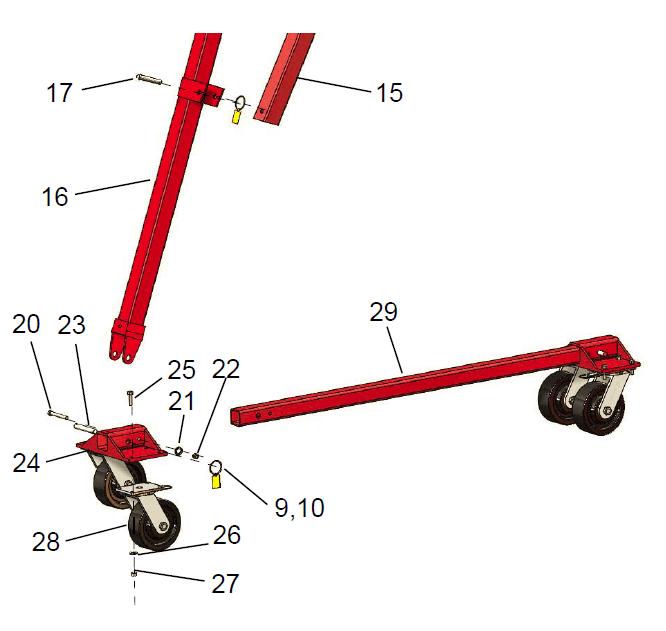 hippolift 5 ton caster frame assembly