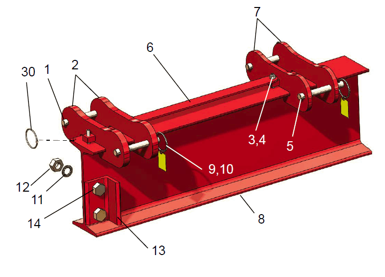 Hippolift Steel 5-Ton Fixed-Height Portable Gantry Crane (FHS1013-M35AC) | Parts Location Diagram | Wallace Cranes