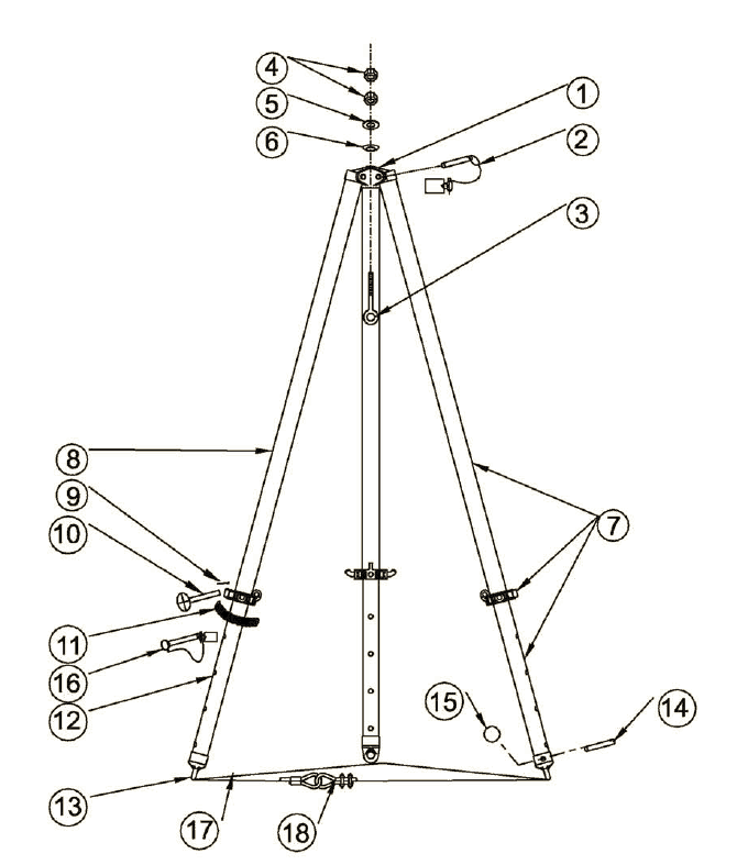 adjustable height aluminum tripod crane model r3 282  parts location diagram