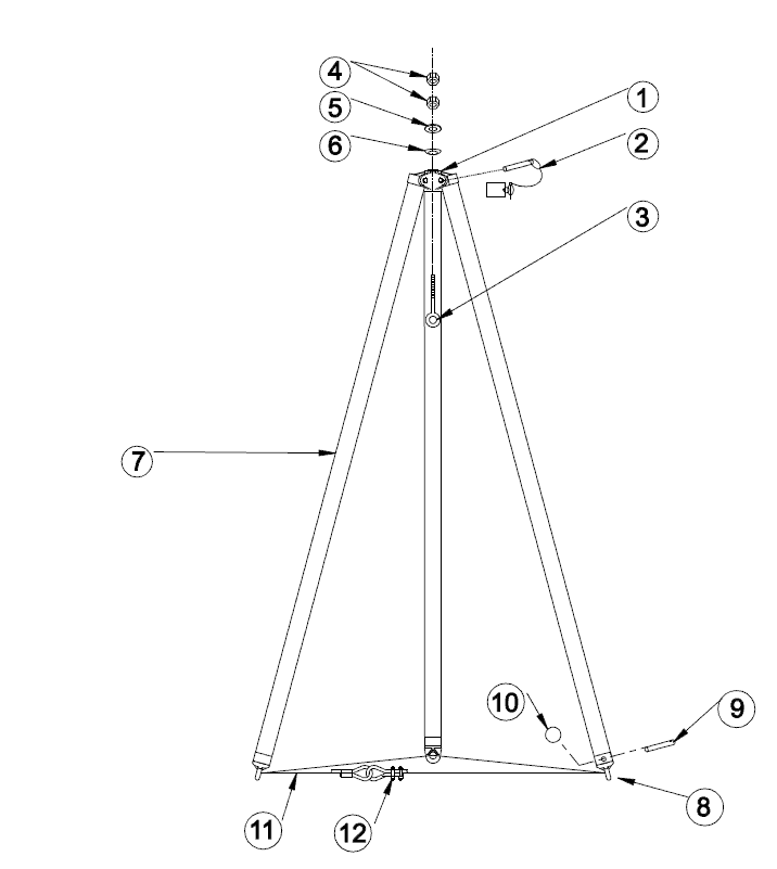 Fixed Height Aluminum Tripod Crane